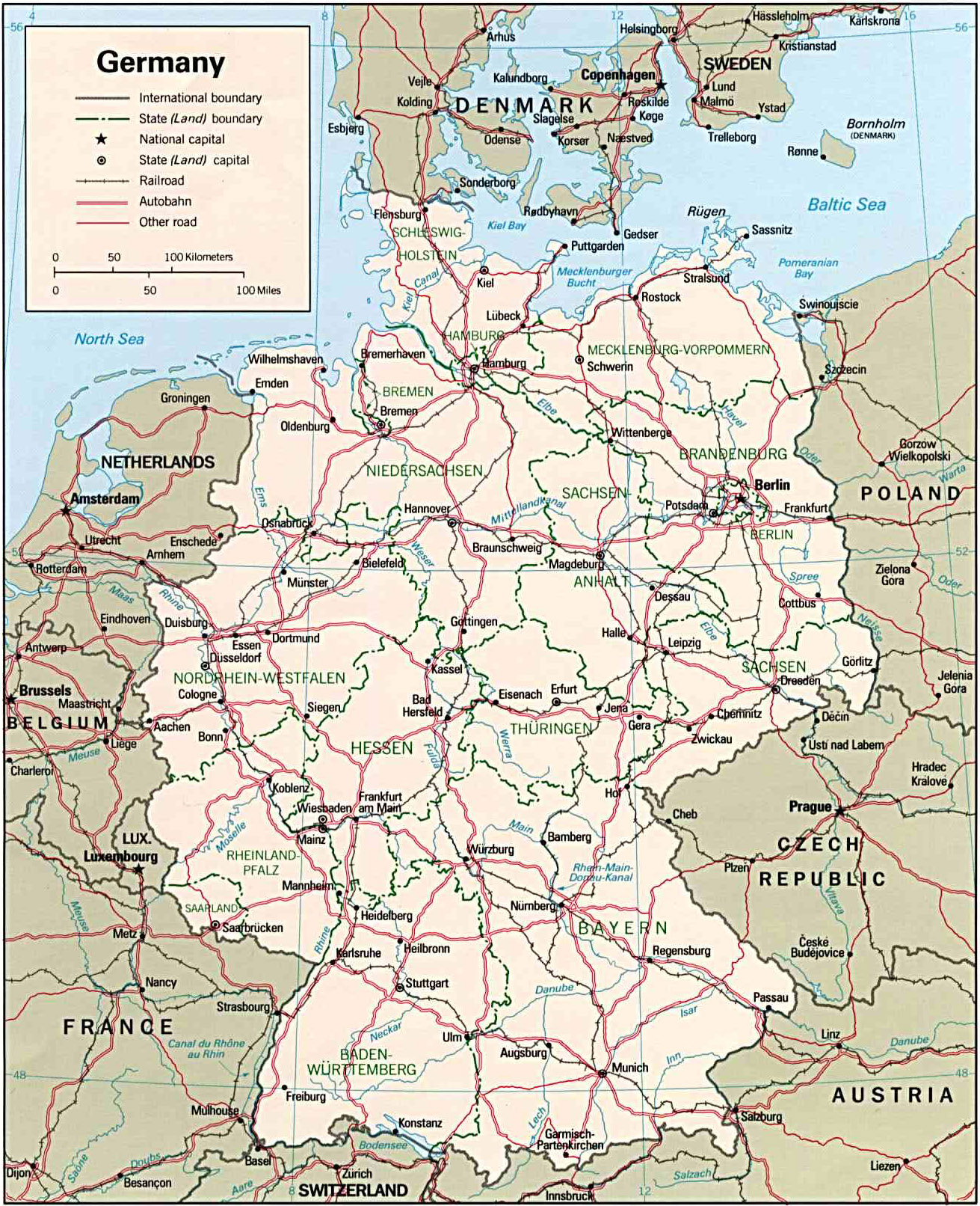 Karte Der Bundesrepublik Deutschland Map Of Germany